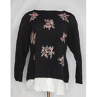 Charter Club Women's Plus Sweater Long Sleeve Floral Black