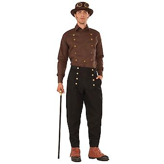 Steampunk Steam Punk Science Fiction Victorian Mens Costume Brown Shirt