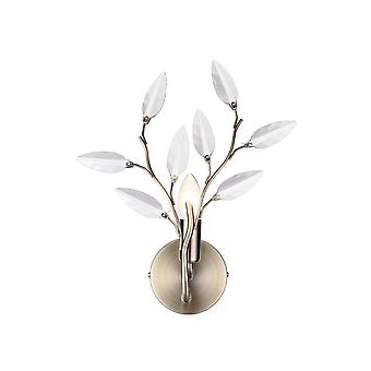 THLC Willow Stylish Single Wall Light In Antique Brass Finish With Clear Leaf