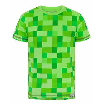 Minecraft All Over Creeper Green Boys Kids Children T-Shirt Top