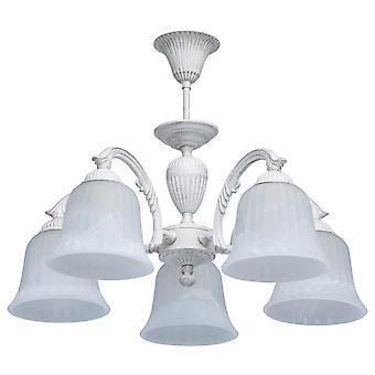 Glasberg - Bianco e Oro Cinque Luce A semi-Flush Raccordo con Tonalità vetro 450014805
