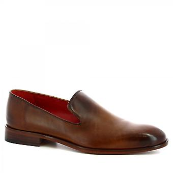 Leonardo Shoes Men's handmade classy loafers shoes in brown calf leather