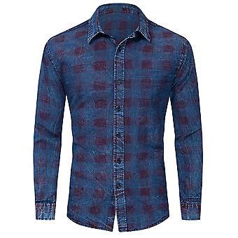 Allthemen Men-apos;s Plaid Printed Shirt Loose Fit Blue Long Sleeve Denim Blouse
