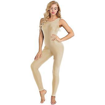 smertelig kvinners ermeløs ett stykke tank unitard jumpsuit, naken, størrelse medium