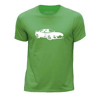 STUFF4 Boy's wokół szyi samochód Shirt/Stencil Art / RX-7/zielony
