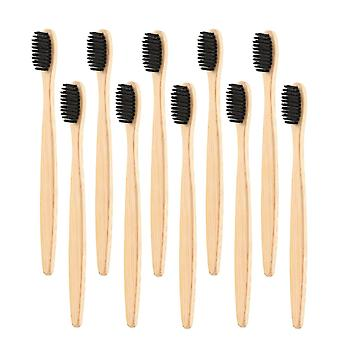 10x bambus tannbørste - svart