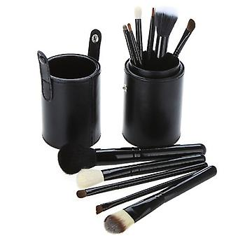 Black Leather 12 Make Up Brushes Cup Set - Chèvre /poney /synthetic Hair Aluminium Ferrule Natural Wood Handle