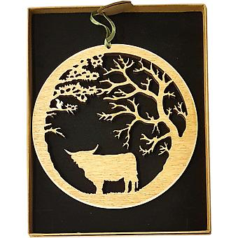 Hanging Wood Plaque - Highland Cow under trees small Knightingale Crafts