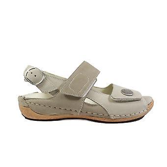 Waldläufer Heliett 342002 691 630 beige nubuck lederen Womens Wide fit verstelbare sandalen