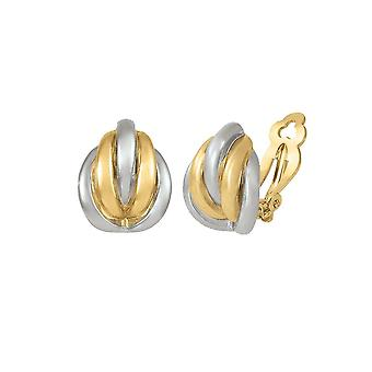 Eternal Collection Sophisticate Classic High Gloss Two Tone Gold And Silver Clip On Earrings