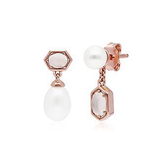 Boucles d'oreilles modernes de goutte de perle et de pierre de lune dépareillées dans l'argent sterling plaqué or rose 270E031002925