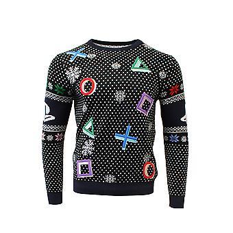 Officiële PlayStation symbolen Black Christmas Jumper / lelijke trui