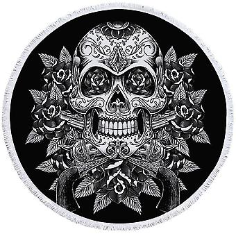 Black and White Skull Guns and Roses Beach Towel