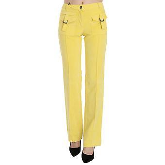 Yellow Corduroy Mid Waist Straight Trousers Pants -- PAN7587504