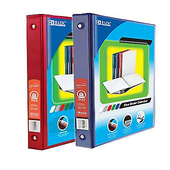 Combo48, BAZIC 1 Inch 3-Ring View Binder with 2-Pockets (Case pack of 24 consist 12-Red & 12-Blue)