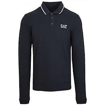 EA7 Navy Long Sleeve Polo Shirt