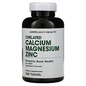 American Health, Chelated Calcium Magnesium Zinc, 250 Tablets