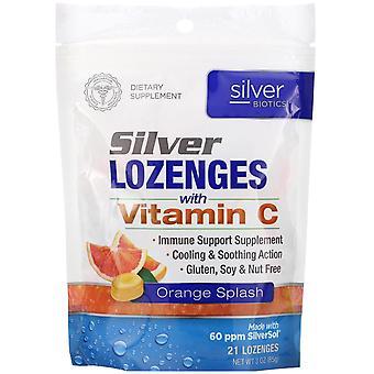 American Biotech Labs, Silver Biotics, Silver Lozenges, 60 PPM SilverSol, Orange