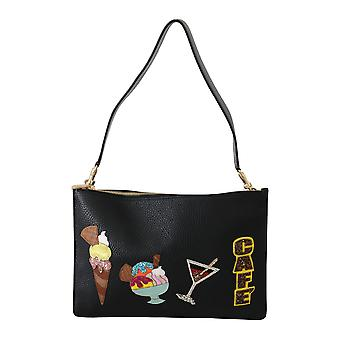 Black ice cream cafe patch leather shoulder purse