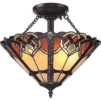 2 Light Semi Flush Ceiling Light Vintage Bronze, Tiffany Glass, E27