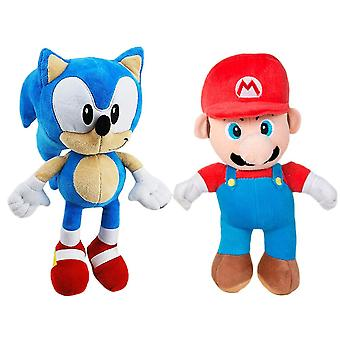 2-Pack Sonic The Hedgehog & Super Mario Stuffed Toy Peluche Animaux farcis 30cm
