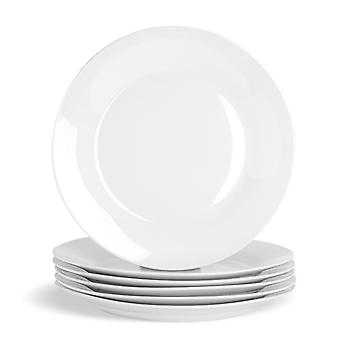"""12 Piece White Dinner Plate Set - Extra-Large Classic Porcelain Dining Plates with Wide Rim - 307mm (12"""")"""