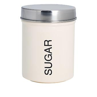 Contemporary Sugar Canister - Steel Kitchen Storage Caddy with Rubber Seal - Cream