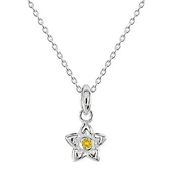 Dew Silver Dinky Love Petal Flower Yellow Cubic Zirconia Pendant 9058YCZ028