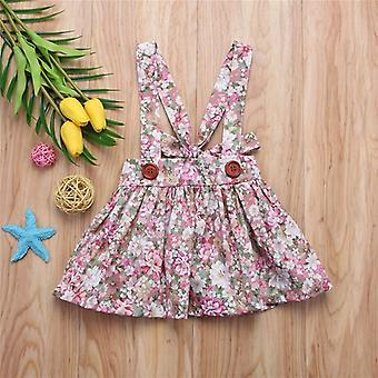 Kids Baby Floral Printing Tutu Skirt With Suspender, Newborn Clothes Party Bib