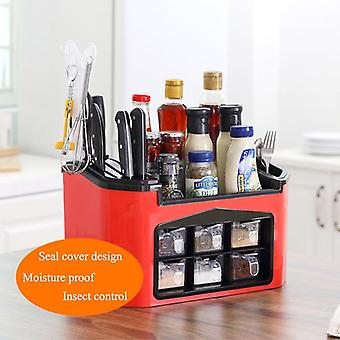 Kitchen Cabinet Storage Home Double Layer Spice Rack, 3 Grid Plastic Seasoning