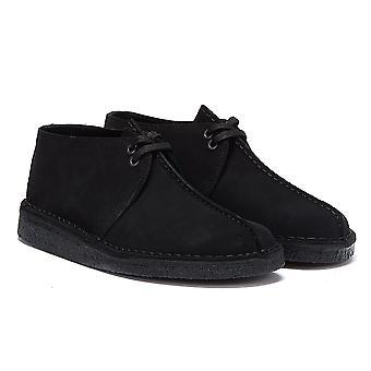 كلاركس الصحراء تريك جلد الغزال أحذية سوداء