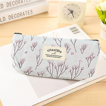 Cute Floral Flower, Canvas Zipper Pencil Cases, Lovely Fabric, Tree Pen Bags