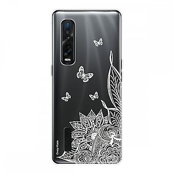 Hull For Oppo Find X2 Pro In Silicone Soft 1 Mm, Mandala Flower And White Butterflies