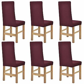 6 x Chair Husse Stretchhusse Polyester rib bed burgundy red