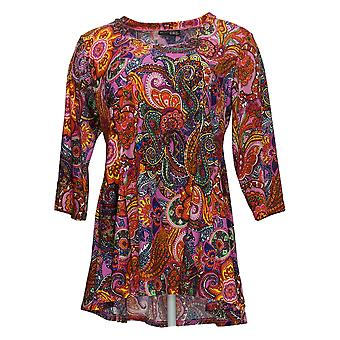 Attitudes By Renee Women's Petite Top Paisley Print Purple A378523