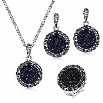 Vintage Crystal Round Jewelry-charm Necklace Earrings Color Black Fashion Party