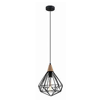 Italux Maelle - Przemysłowy i retro wiszący wisiorek czarny 1 światło z cieniem klatki, E27
