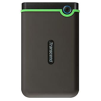 Transcend 2 tb slim storejet 25m3s, rugged external hard drive with excellent anti-shock protection