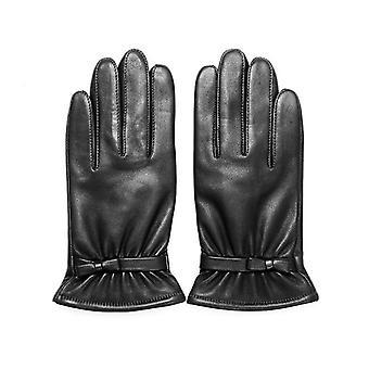 Genuine Leather Gloves Autumn Winter Warm Velvet Lined Kids Sheepskin Gloves