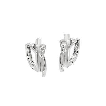 Hoop Earrings With Zirconia Silver 925