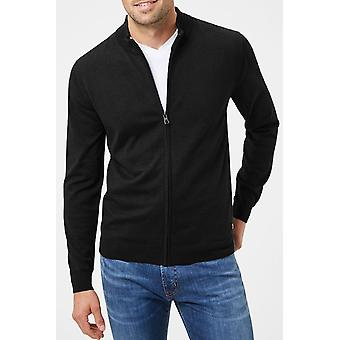 Fitted zip-cut cardigan sweater