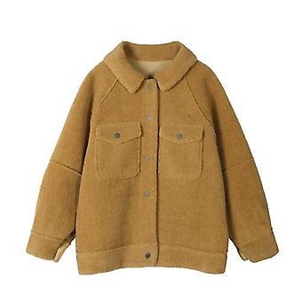 Începutul primăverii Anti Sheepskin Coat, Femeie Loose Plush Shirt Jacheta