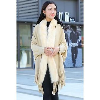 Women Faux Fur Collar Cape Shawl, Cardigan Tassel Knit Sweater Poncho, Winter