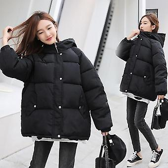 Winter Women Parkas Coat, Casual Thicken Warm Hooded Padded Jackets, Solid