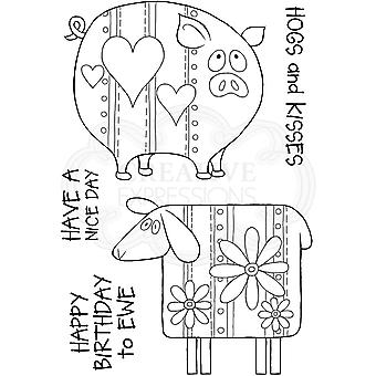 Woodware Clear Singles Ewe og Piggy 4 i x 6 i Stempel