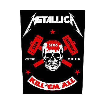 Metallica tilbake oppdateringen drepe dem alle milits Logo offisielle metall sy 36 cm x 29 cm