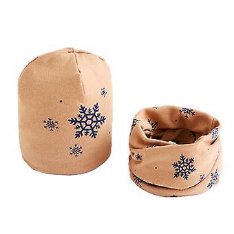 Plush Hat Scarf Set,  Star Print, Neck Collar Cotton
