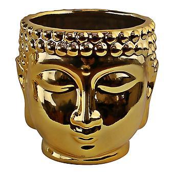 Gold Ceramic Buddha Head Planter, 12cm