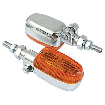 Bike It Adjustable Stem Indicators With Chrome Body And Amber Lens