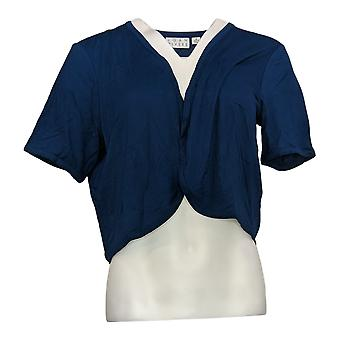 Joan Rivers Classics Collection Women's Sweater Jersey Knit Shrug Blue A304727
